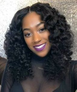 simple curly quick weave with middle parting
