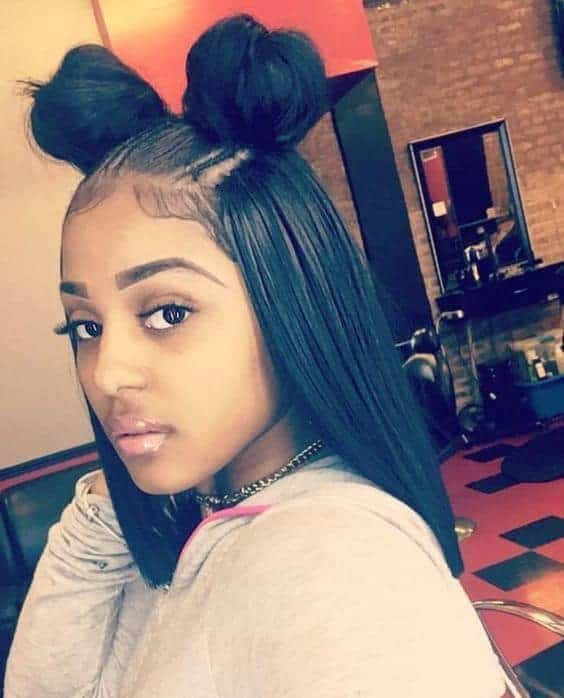 Sleek straight hair with two buns