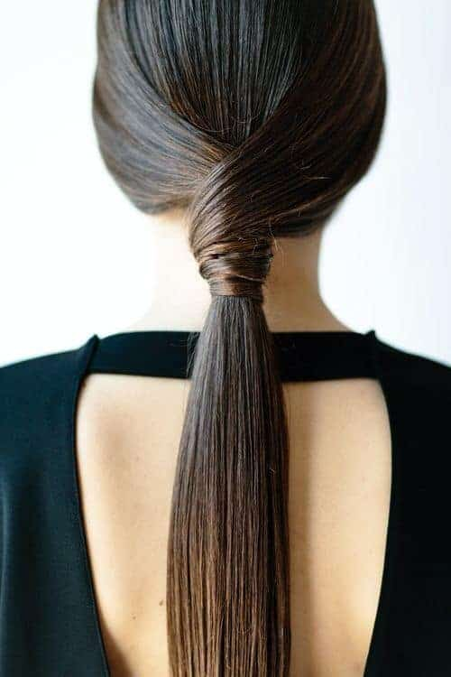straight ponytails- sleek and sraight low ponytail