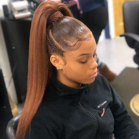 Two braids with quick weave ponytail