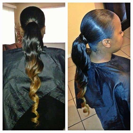 weave ponytails - straight sleek blonde ombre