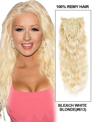 Blonde wavy clip in extension