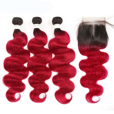 1b red Body Wave 3 bundles with closure1