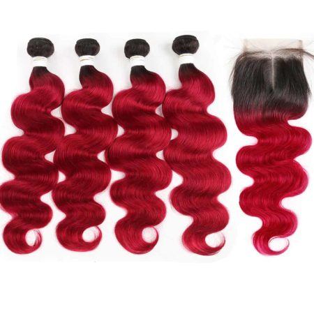 1b red Body Wave 4 bundles with closure1