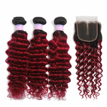 1b red deep wave 3 bundles with closure1