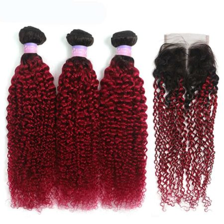 1b red kinky curly 3 bundles with closure1