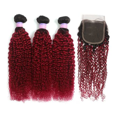 1b red kinky curly 3 bundles with closure2