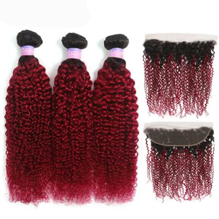 1b red kinky curly 3 bundles with frontal1