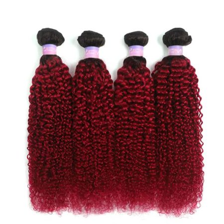 1b red kinky curly bundles2