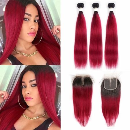1b red straight 3 bundles with closure2