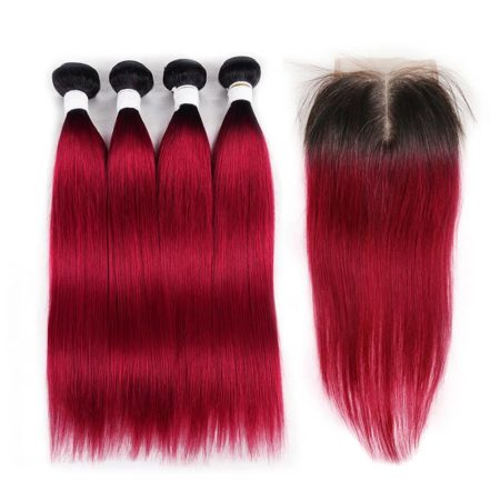 1b red straight 4 bundles with closure1