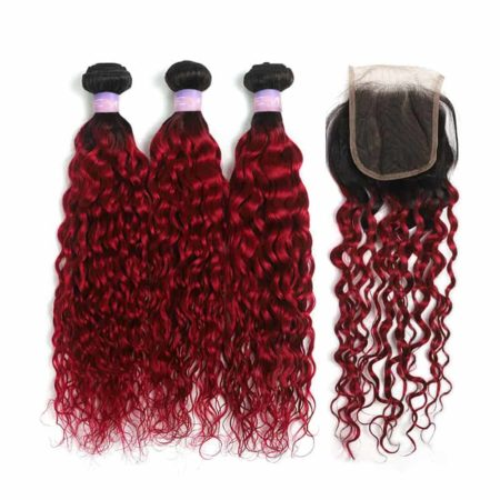 1b red wet and wavy 3 bundles with closure1