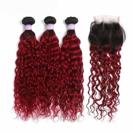1b red wet and wavy 3 bundles with closure2