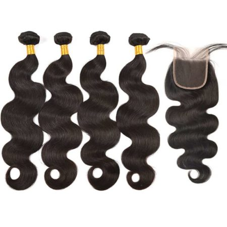 Brazilian Body Wave 4 Bundles With Closure