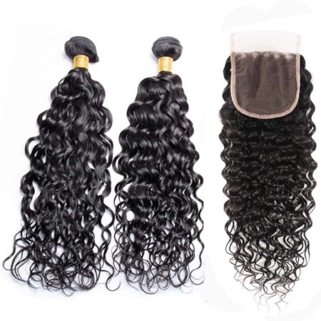 Brazilian Wet And Wavy 2 Bundles With Closure