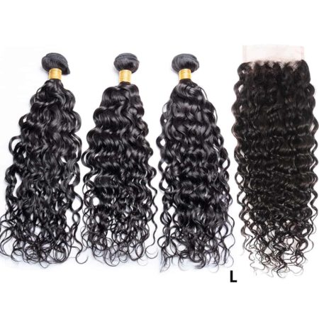 Brazilian Wet And Wavy 3 Bundles With Closure