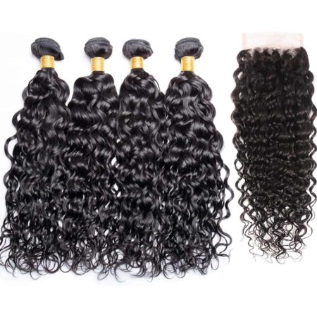 Brazilian Wet And Wavy 4 Bundles With Closure