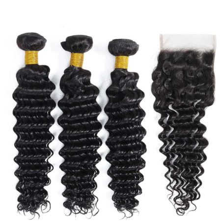 Brazilian deep wave hair 3 bundles with closure