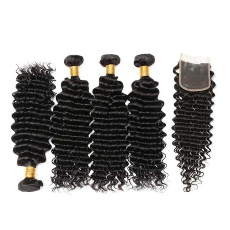 Brazilian deep wave hair 4 bundles with closure