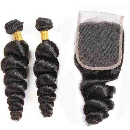 Brazilian hair loose wave 2 bundles with closure