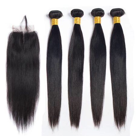 Brazilian straight hair 4 bundles with closure