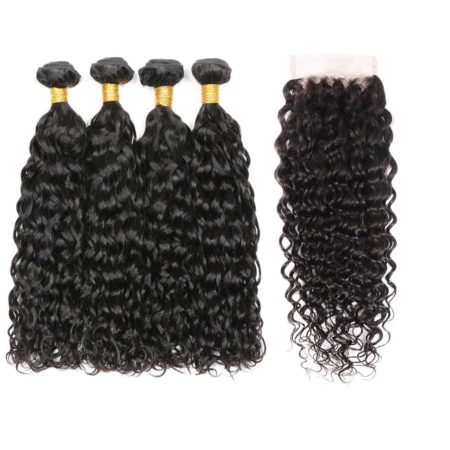 Brazilian water wave 4 bundles with closure