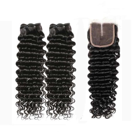 Malaysian hair deep wave 2 bundles with closure