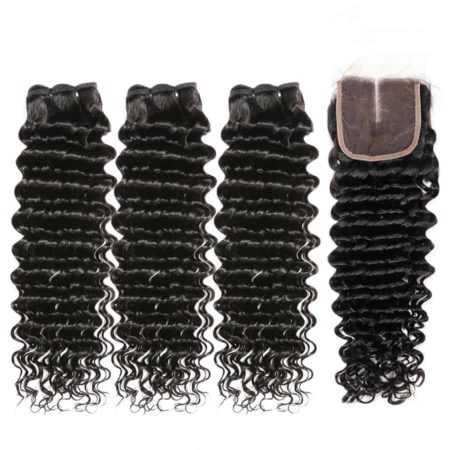 Malaysian hair deep wave 3 bundles with closure