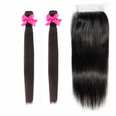 Malaysian straight hair 2 bundles with closure