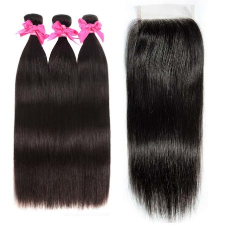 Malaysian straight hair 3 bundles with closure
