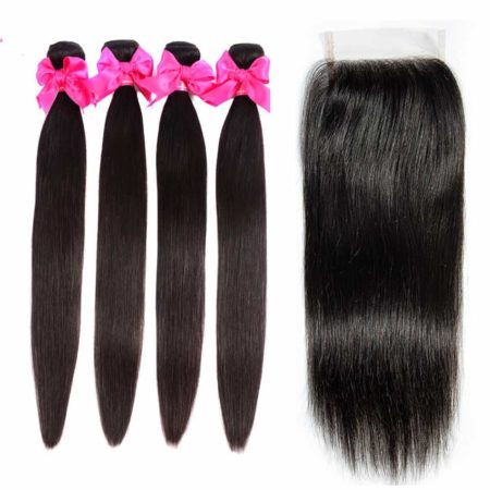 Malaysian straight hair 4 bundles with closure