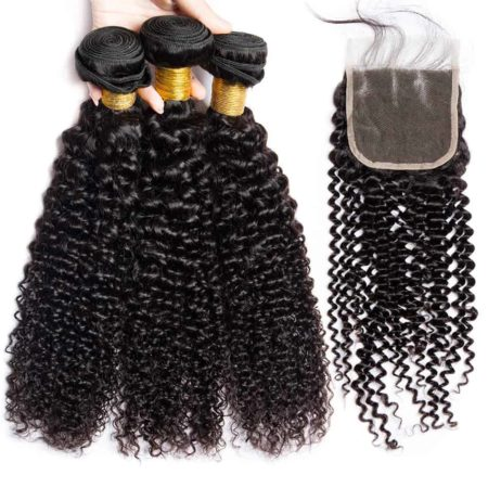 bazilian hair kinky curly bundles with closure2