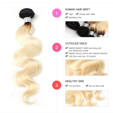 black and blonde ombre weave body wave 1 bundle2