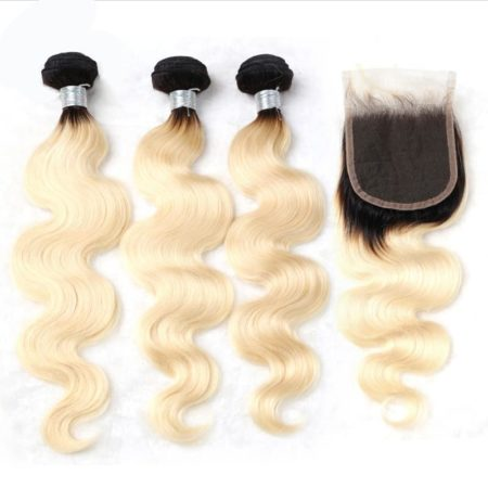 black and blonde ombre weave body wave 3 bundles with closure1