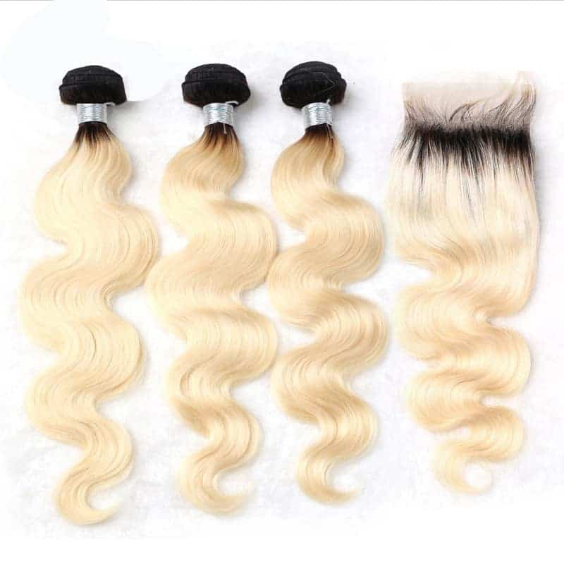 black and blonde ombre weave body wave 3 bundles with closure2