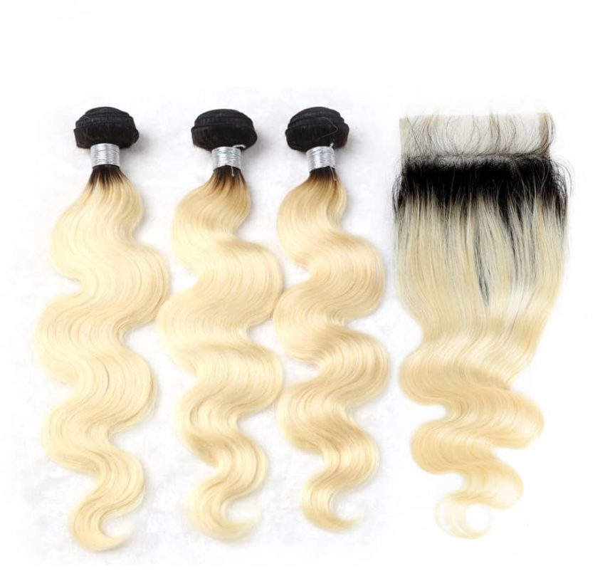 black and blonde ombre weave body wave 3 bundles with closure4