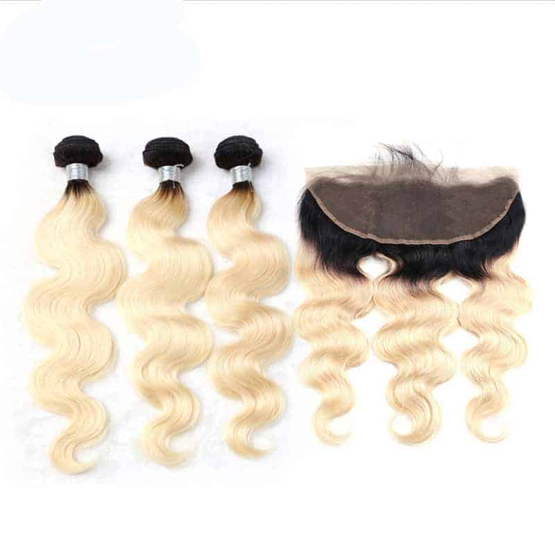 black and blonde ombre weave body wave 3 bundles with frontal1