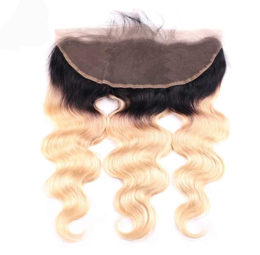black and blonde ombre weave body wave 3 bundles with frontal4
