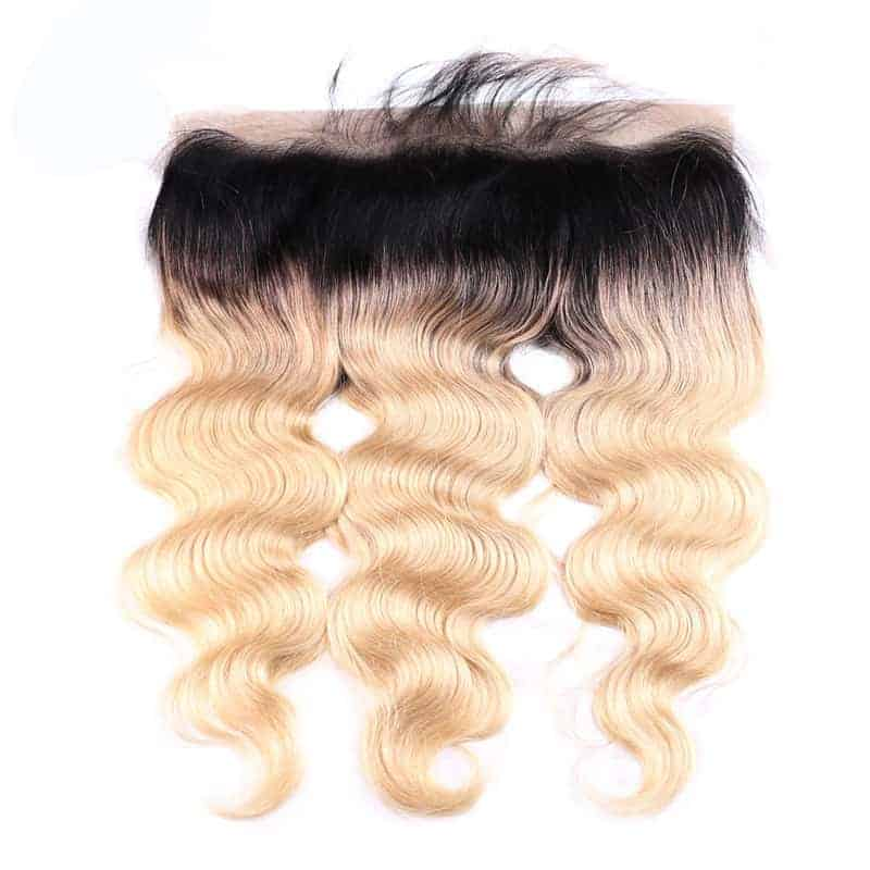 black and blonde ombre weave body wave 3 bundles with frontal5