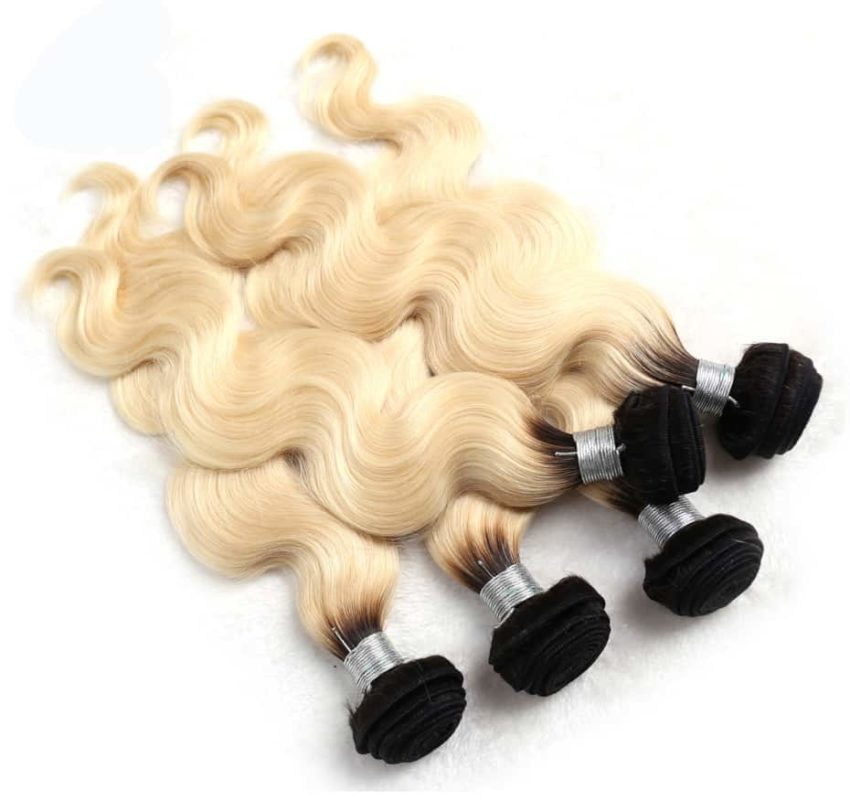 black and blonde ombre weave body wave 3 bundles with frontal6