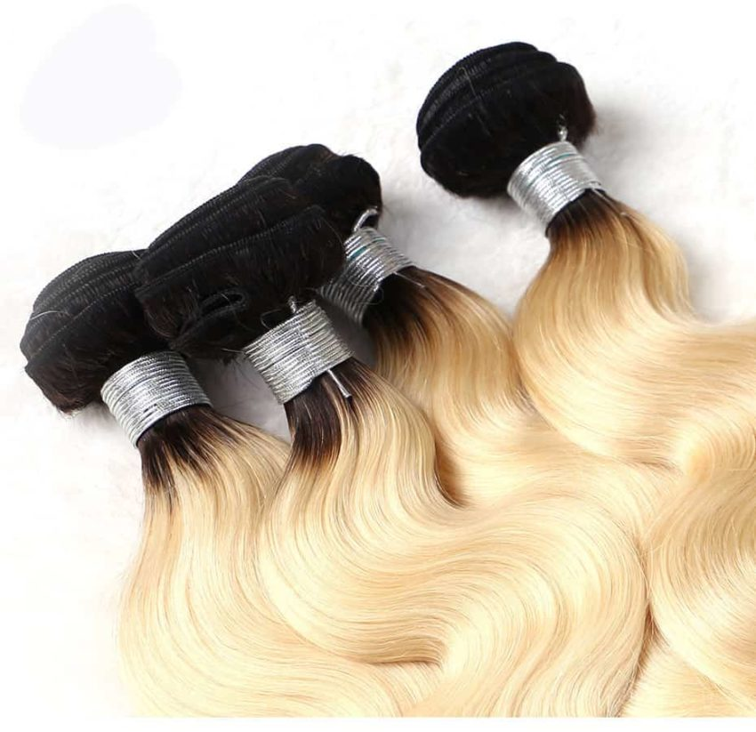black and blonde ombre weave body wave 3 bundles with frontal9