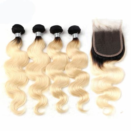 black and blonde ombre weave body wave 4 bundles with closure1