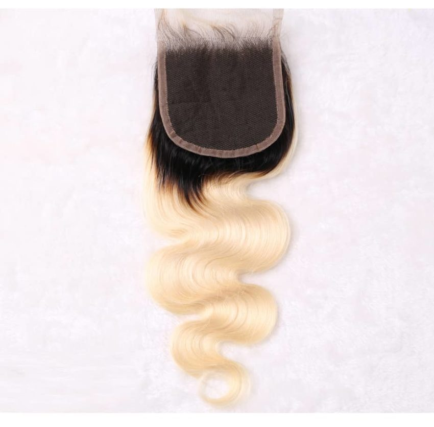 black and blonde ombre weave body wave 4 bundles with closure8