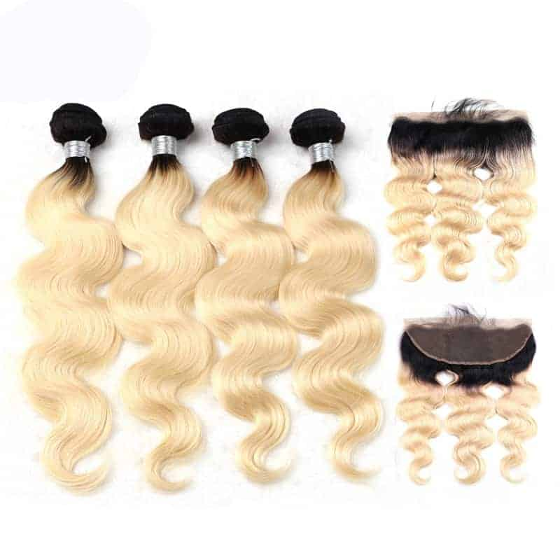 black and blonde ombre weave body wave 4 bundles with frontal1