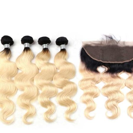 black and blonde ombre weave body wave 4 bundles with frontal2