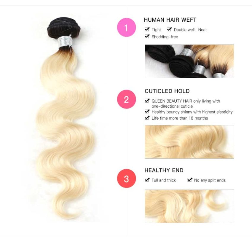 black and blonde ombre weave body wave 4 bundles with frontal3