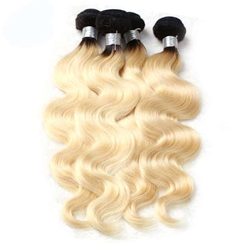 black and blonde ombre weave body wave 4 bundles with frontal6