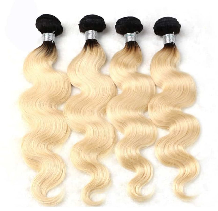 black and blonde ombre weave body wave 4 bundles1