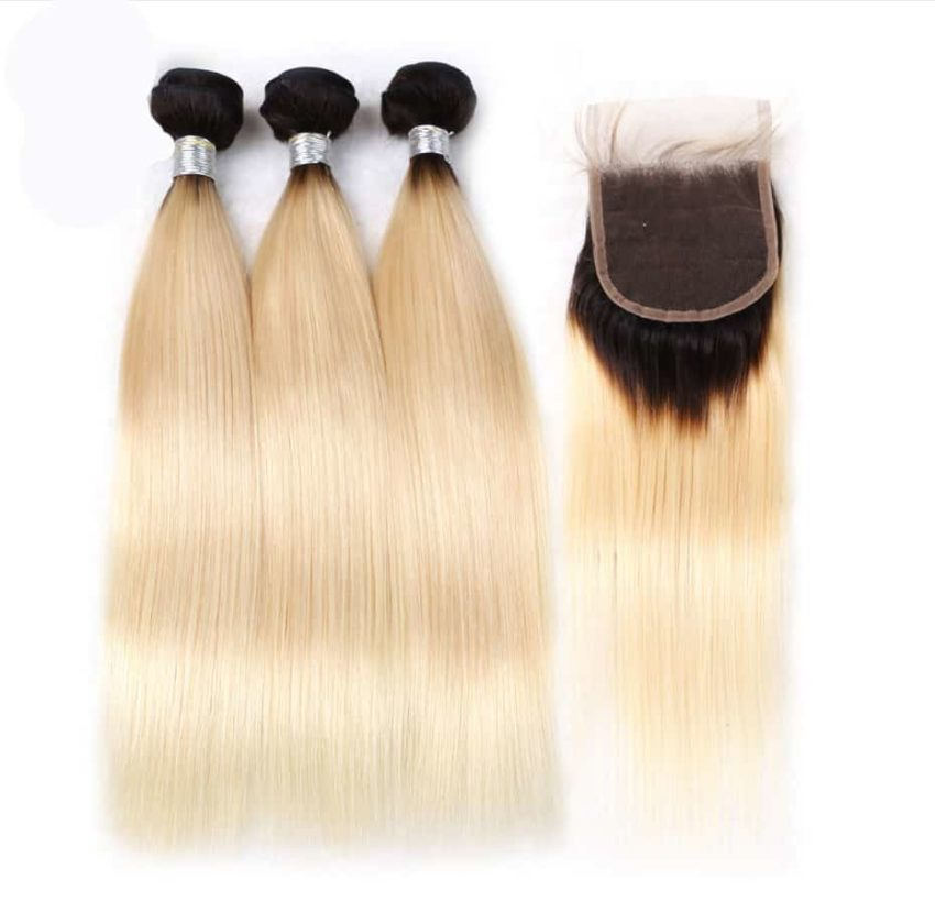 black and blonde ombre weave straight hair 3 bundles with closure1
