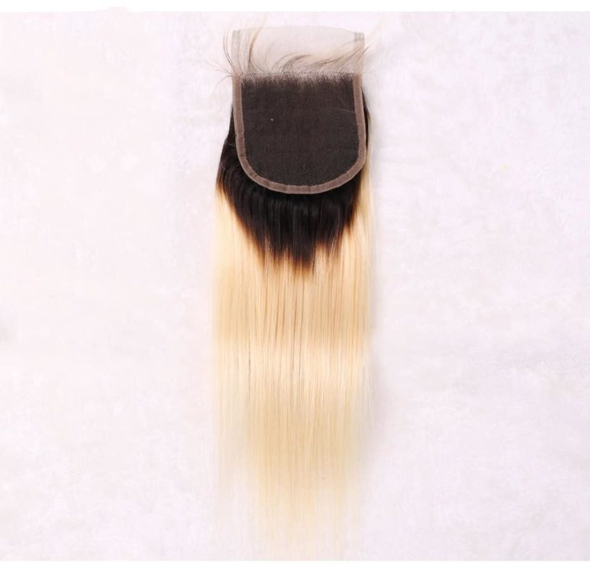 black and blonde ombre weave straight hair 3 bundles with closure7